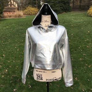 XXI Metallic crop hoodie